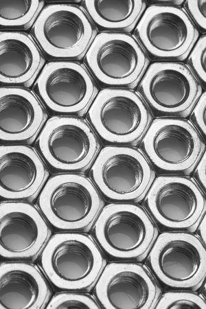 metal fastener: a lot of nuts