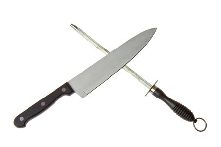 knife and sharpener Stock Photo
