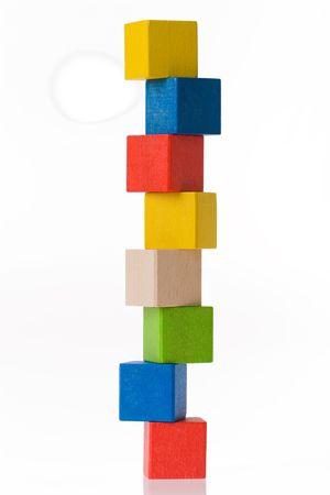 building blocks: Wooden toy blocks on white background Stock Photo