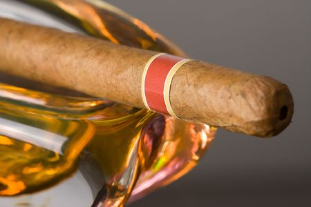 the cuban cigar in ashtray  photo