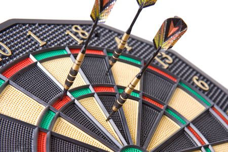 darts in dartboard on white background Stock Photo - 5396875