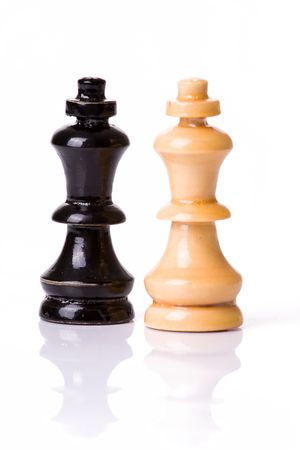 figures of chess on white background photo