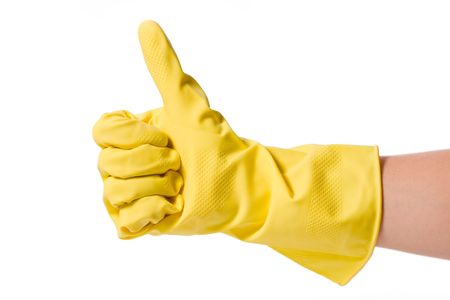 cleaning gloves: hand in rubber glove isolated on white background Stock Photo