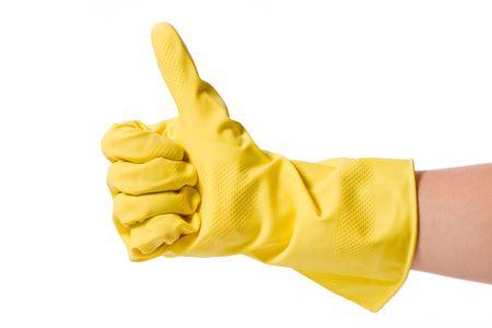 manos limpias: mano en guante de caucho aislado sobre fondo blanco