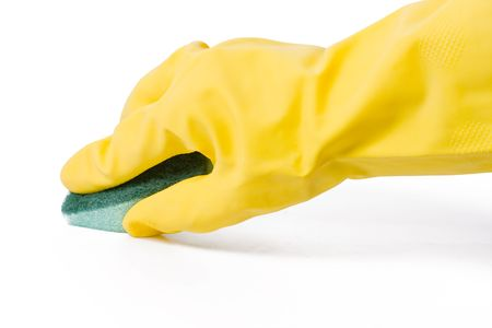 scrubber: latex glove and sponge on white background