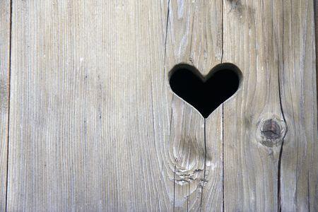 the wooden door with heart  photo