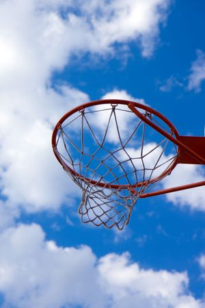 basketball hoop and blue sky photo