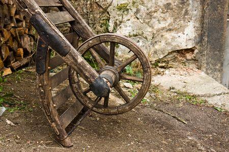 old wood farm wagon: old wood wheel on a farm