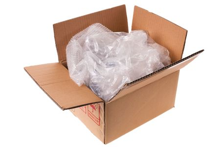 unwrapped box with plastic isolated on white background Stock Photo - 5882151