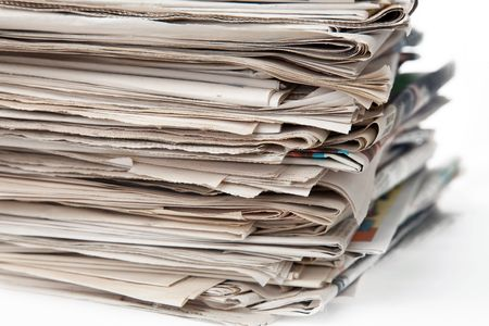 stack of newspapers isolated of white background Stock Photo - 5882158