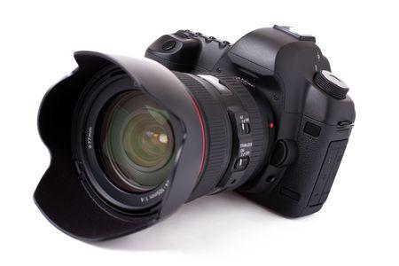 megapixel: professional digital SLR camera isolated on white background