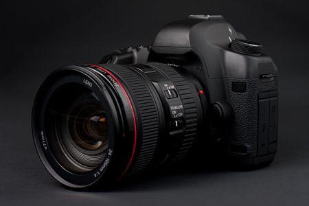 megapixel: low key professional digital SLR camera Stock Photo