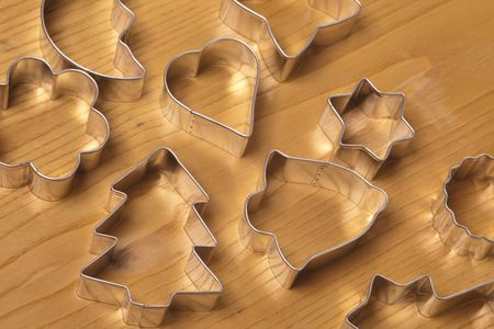 cookie cutters on wooden background Stock Photo - 5926140