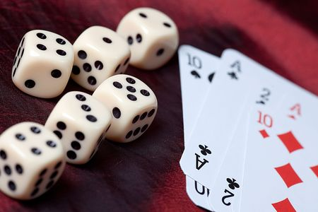 playing cards and dice. photo shot of gambling photo