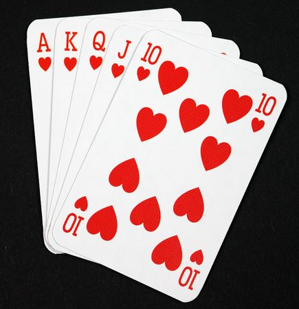poker cards: poker cards. royal flush on black background