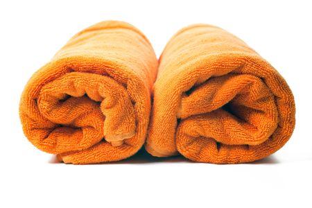 orange washcloth: orange towels on white background