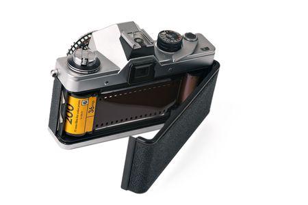 35mm film camera with open back door photo