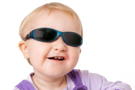 baby with sunglasses on white background Stock Photo - 5979377