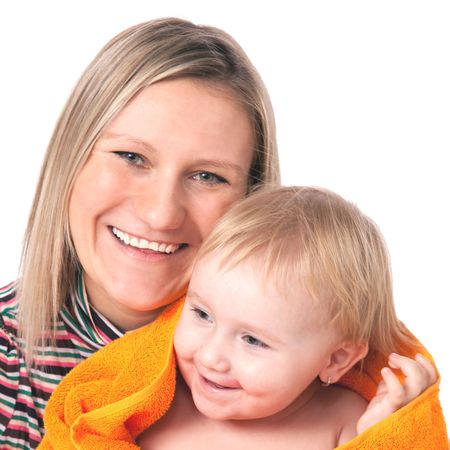 mother with her chil on white background Stock Photo - 5979387
