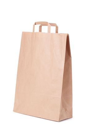 brown paper shopping bag with handles Stock Photo - 6119123