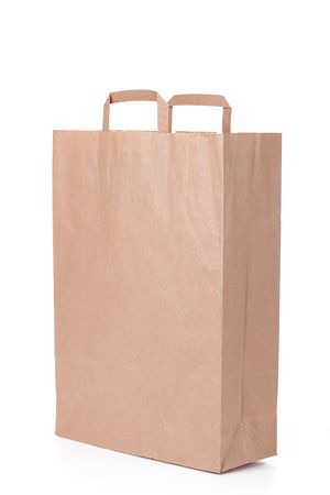 brown paper shopping bag with handles photo