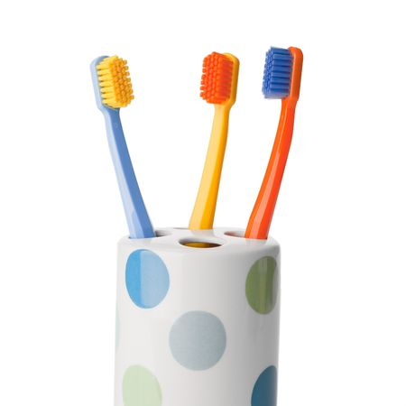 color toothbrush on white background Stock Photo - 6119137