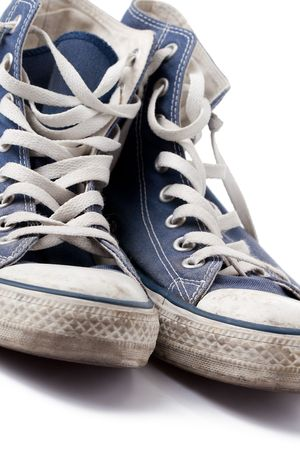 the blue sneakers on white background Stock Photo - 6158495