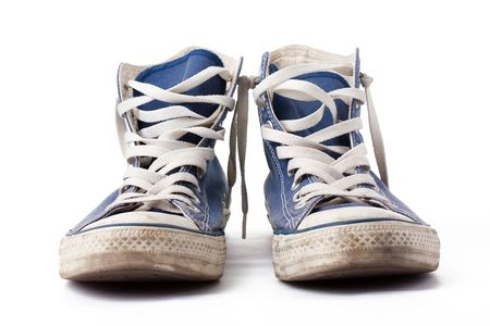 the blue sneakers on white background Stock Photo - 6158493