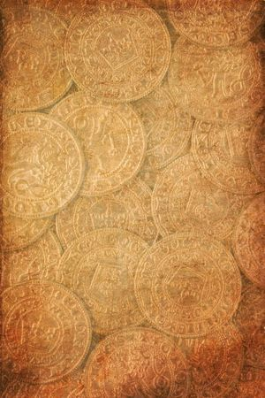 the vintage background vith antique coins photo