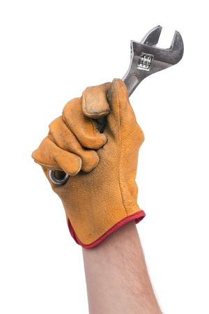 adjustable wrench in hand with glove photo