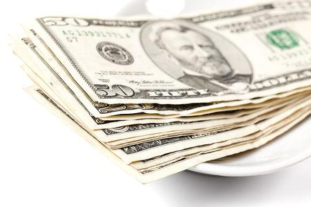 dinne: photo shot of paying by money on plate Stock Photo