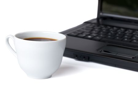coffee cup and computer on white background Stock Photo - 6274084