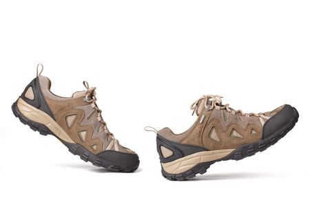 zapato: las botas de caminata sobre un fondo blanco