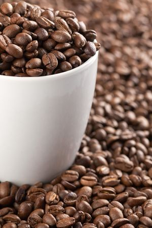 photo shot of coffee beans with white cup Stock Photo - 6328864