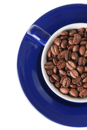 coffee beans and coffee cup on white background photo