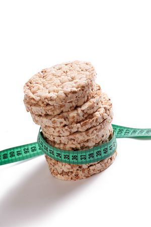 galettes:  healthy puffed corn galettes with measuring tape