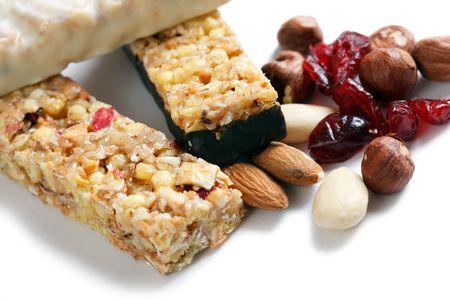 muesli bars and nuts and dried fruits photo