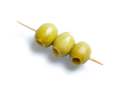photo shot of green olives and toothpick Stock Photo - 6452954