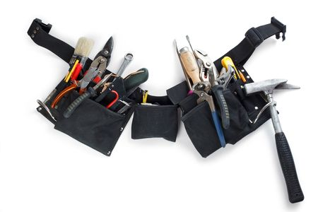 photo shot of tools belt on white background