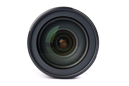 objetivo: lente de la cámara sobre fondo blanco