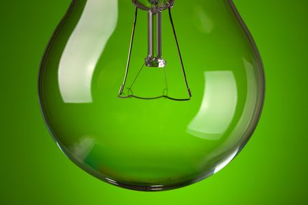 photo shot of detail of light bulb on green background Stock Photo - 6509607