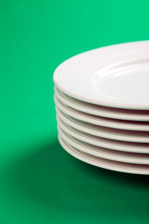 the white plate on green background Stock Photo - 6509833
