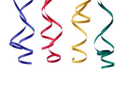streamers: papel colorido streamer aislado sobre fondo blanco  Foto de archivo