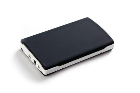 gigabytes: external hard disc on white background