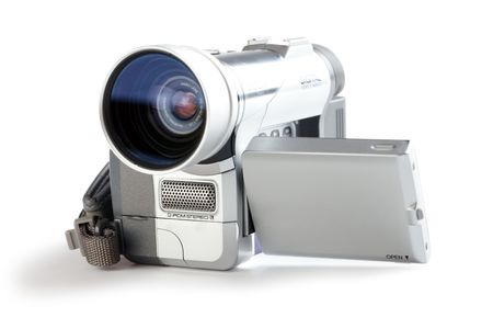 amateur: videoc�mara amateur sobre fondo blanco