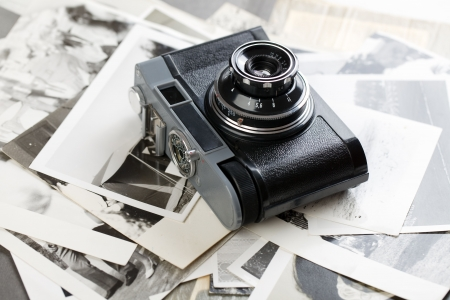 black and white photography: the russian analogue photo camera Stock Photo