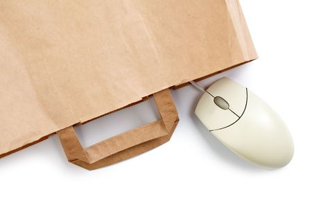 computer mouse and shopping bag on white background Stock Photo - 6589887