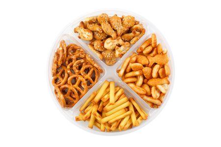 tentempi�: la toma de la foto de los snacks salados  Foto de archivo