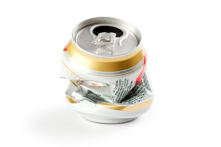 photo shot of crushed beer can photo