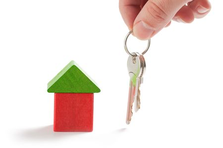 keys and model house on white background Stock Photo - 6629735